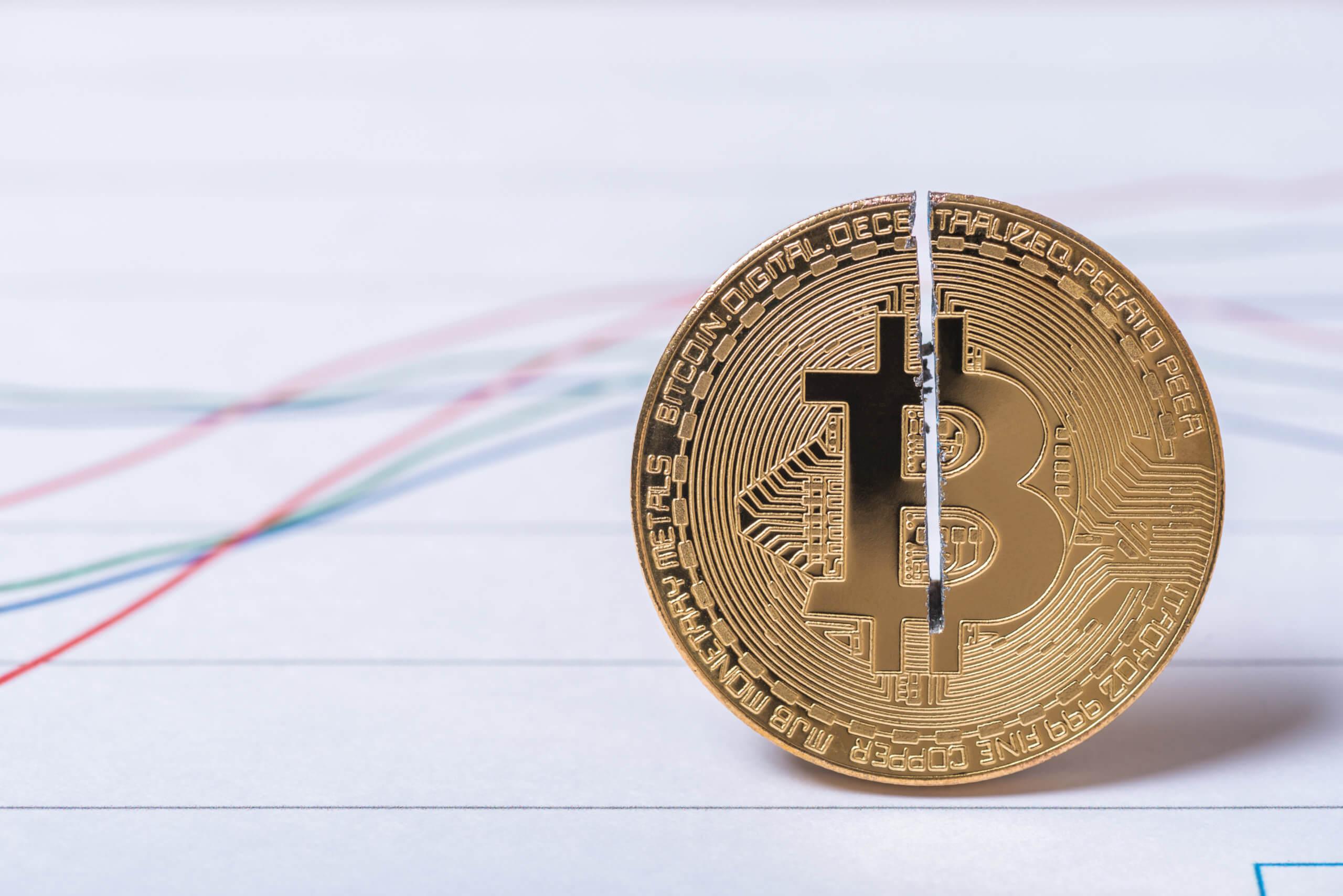 Bitcoin Halving Bitcoin Münze auf einem Chart