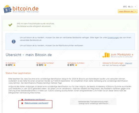 Bitcoin.de Mobilfunknummer