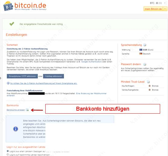 Bitcoin.de bankkonto hinzufügen
