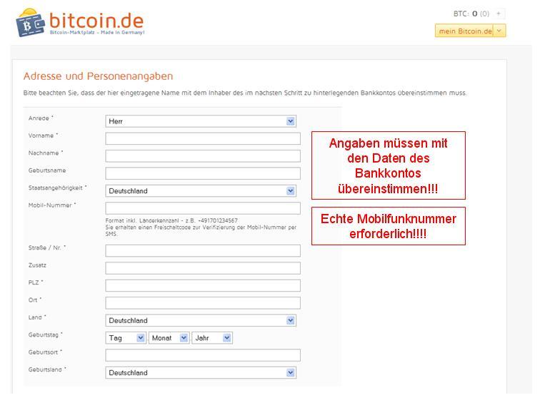 Bitcoin.de Persönliche daten