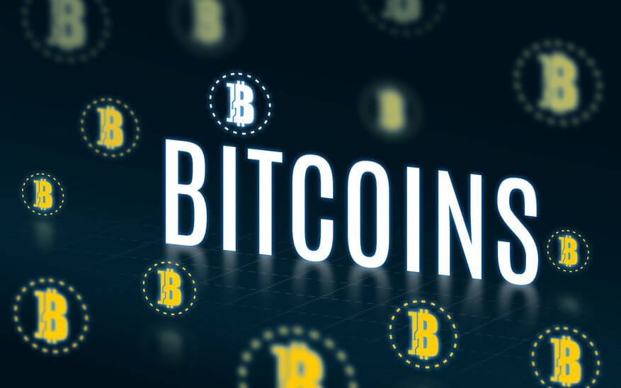 Bitcoins with bitcoins icon floating on dark green tech backgrou