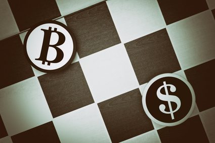 Draughts (Checkers) - US Dollar vs Bitcoin - duel as metaphor of exchange rate and comparison of traditional currency of United States of America and international internet cryptocurrency