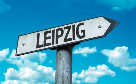 Leipzig road sign in a concept image