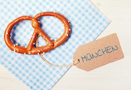 food background - pretzel on wood table - munich