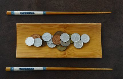 Japanese Coin and Chopstick on Bamboo plate