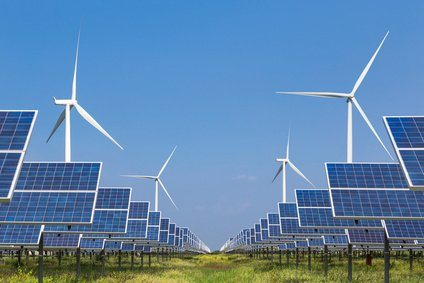photovoltaics  solar panel and wind turbines generating electricity in solar power station alternative energy from nature