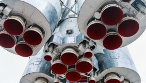 engines and nozzle Launch vehicle. Launch vehicle on the launch pad