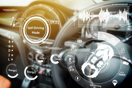 Smart car (HUD) concept. Empty cockpit in vehicle and Self-Driving mode car graphic screen with flare light