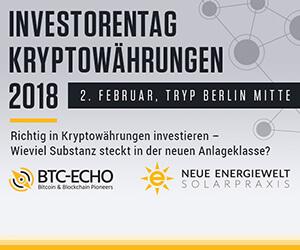 BTC-ECHO: Investorentag Kryptowährungen 2018 in Berlin