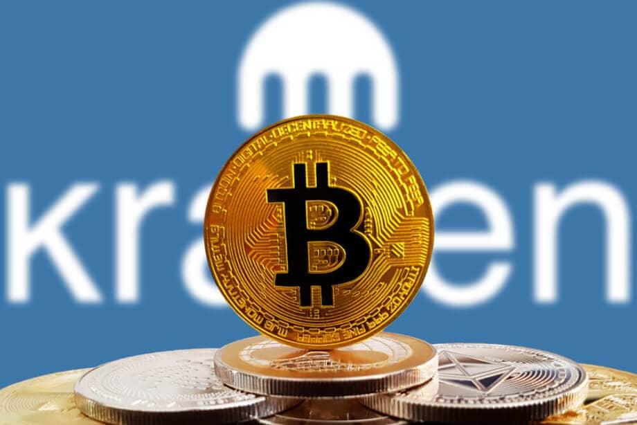 Kraken-Logo hinter Bitcoin-Münze.