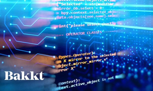 Computercode und das Schriftzeichen Bakkt