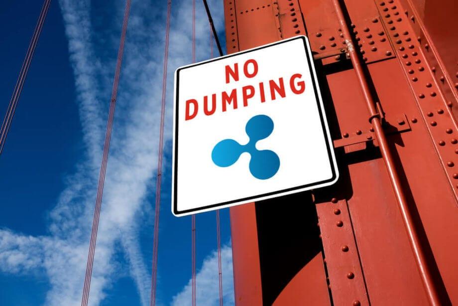 """Schild mit Ripple-Logo und der Beschriftung """"No Dumping"""""""