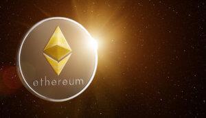 Ethereum-Münze im Weltall