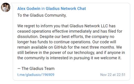 Gladius, Gladius (GLA) wird eingestellt – vorerst keine Entschädigung für Investoren