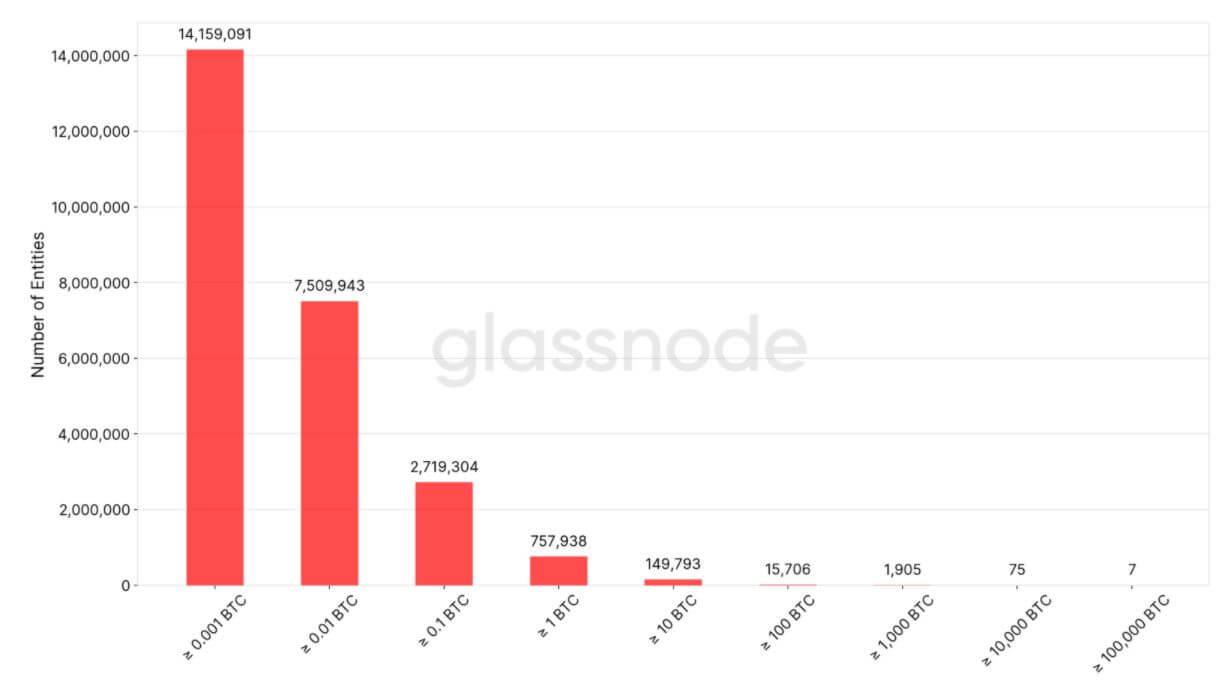 Bitcoin-Adressen-Verteilung, Quelle: Glassnodes