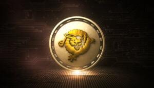 bitcoin sv symbol golden leuchtend mit tier in der mitte