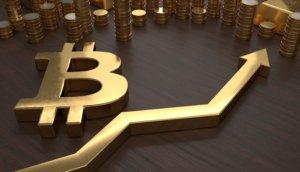 goldenes bitcoin b mit goldenem chartpfeil in plastischer darstellung weiter hinten im bild gestapelte goldene münzen auf einem braunen untergrund ansicht von schräg oben