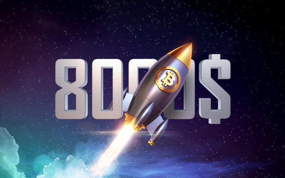 rakete mit bitcoin (Btc) symbol und der 8.000 US-Dollar im Hintergrund. Rakete fliegt durch das Bild als Symbol für den Bitcoin-Kurs (BTC)