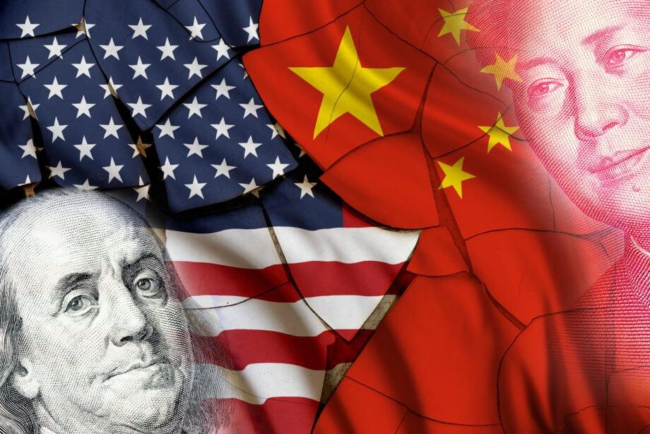 US-Flagge und China-Flagge, die sich das bild teilen