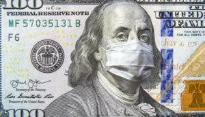 100 US Dollar schein mit Corona Maske