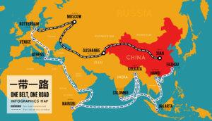 Landkarte mit Kontinenten Asien, Europa und Afrika, die die neue Seidenstraße von China ausgehen zeigt, One Belt, One Road