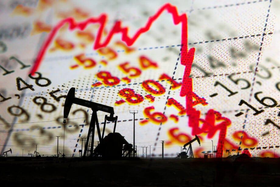Roter Chart zeigt Preisverfall von Öl (WTI) und rote Zahlen zeigen Minus