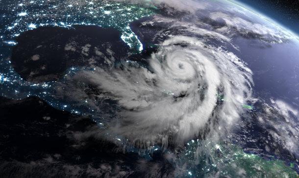 Eine Weltraumaufnahme zeigt deutlich einen großen Sturm