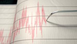 Nahaufnahme einer Seismograph-Maschinennadel