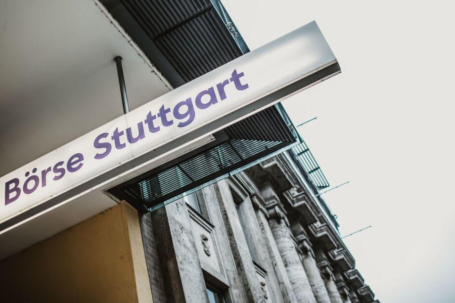 Schild der Börse Stuttgart
