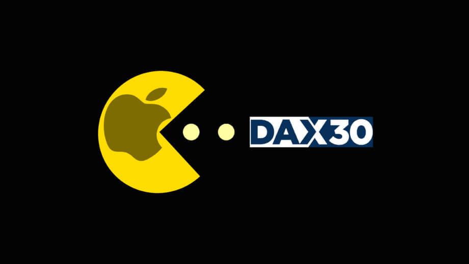 Pac man mit Apple Logo frisst den DAX30 Aktienindex auf.