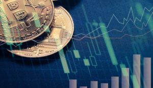 bitcoin-münzen-liegen-auf-einer-chart
