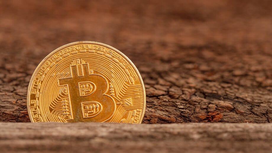 bitcoin-münze versinkt in einer spalte zwischen zwei holzplatten
