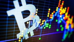 bitcoin symbol samt bitcoin-kurs verbildlichung