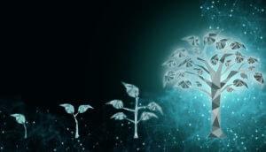Digitales Investment symbolisiert durch digitalen Baum