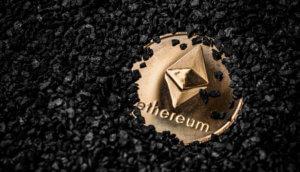 unter steinen vergrabene ethereum-münze