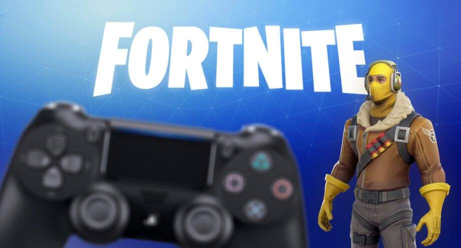 Fortnite Schriftzug mit Spielfigur und Gaming-Controller