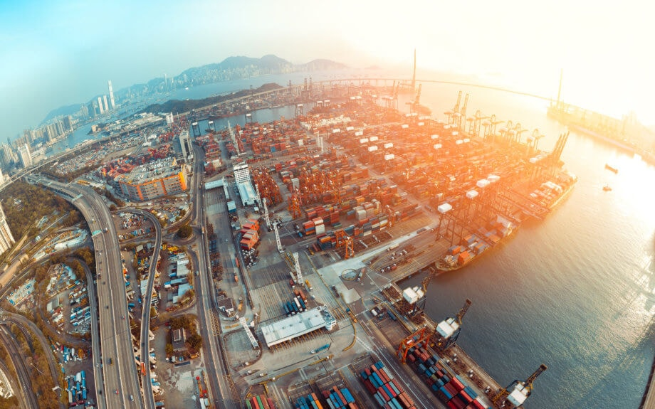 Luftbild der Kwai Tsing Containerterminals Hongkong, China