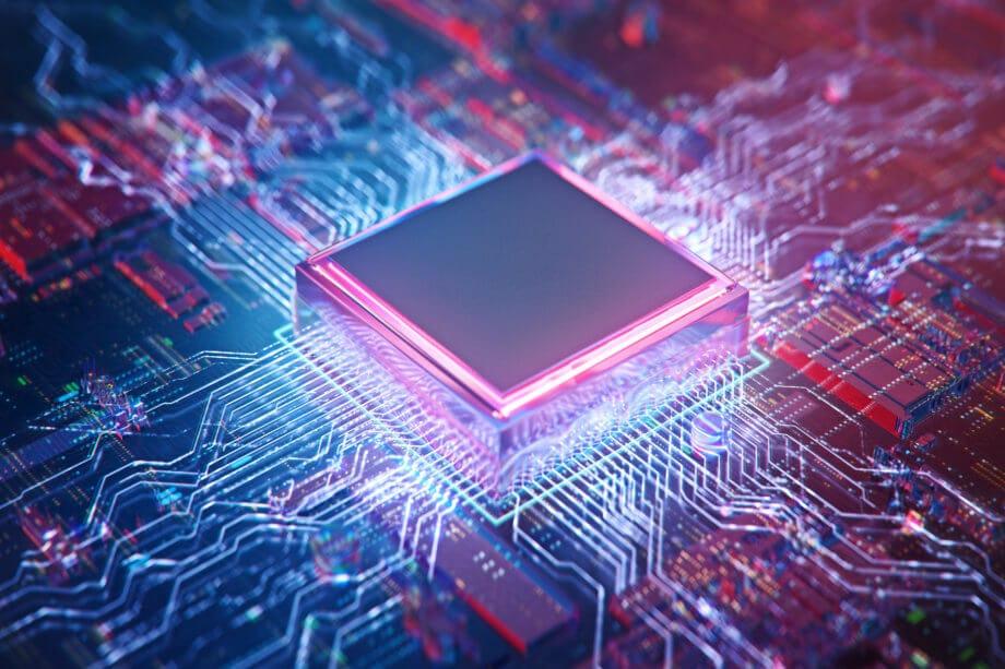 ein halbleiterchip auf einer computerumgebung