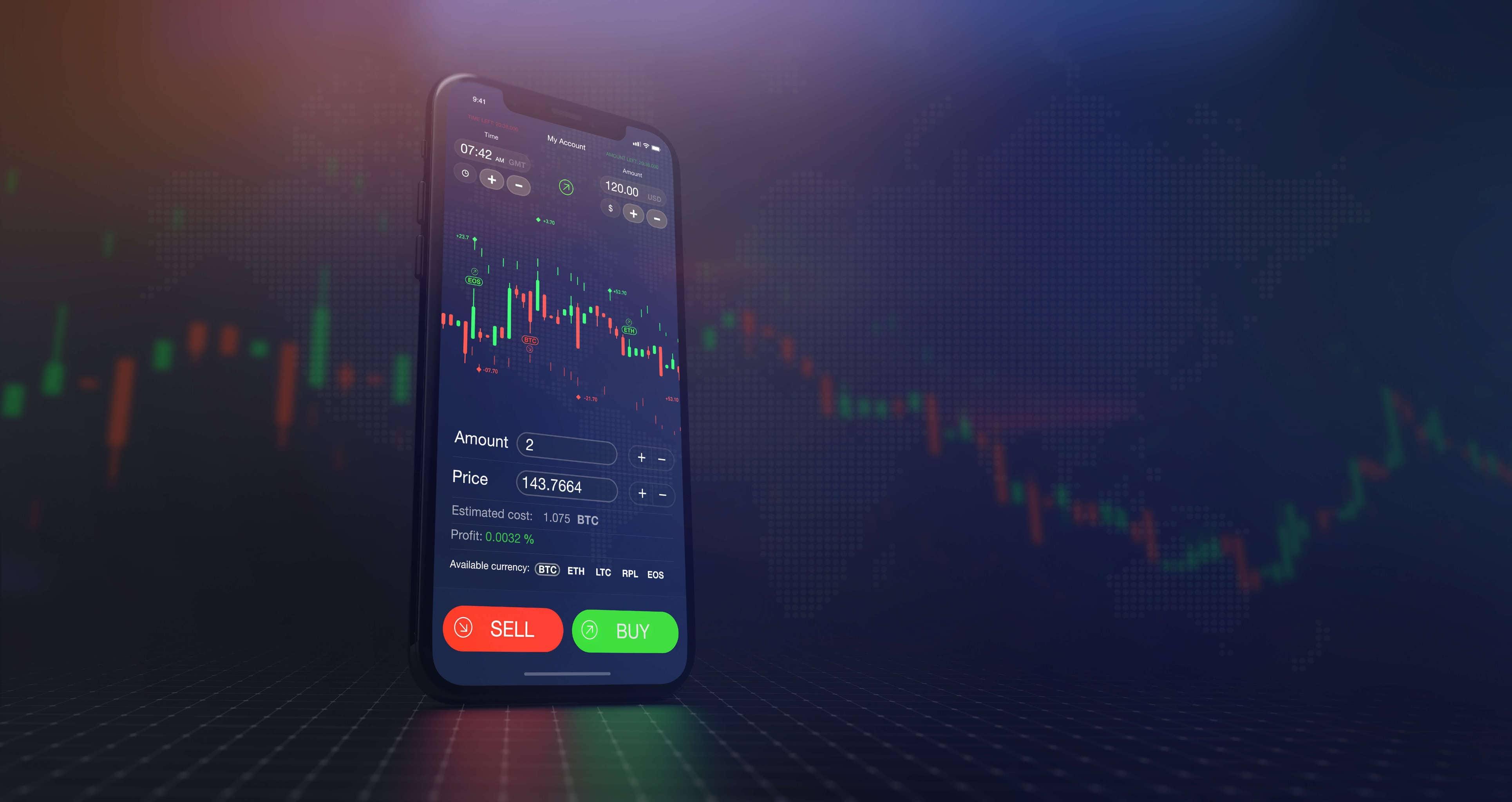 smartphone mit tradingsymbolen vor charts im hintergrund
