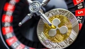 xrpo-münze liegt auf einem roulette