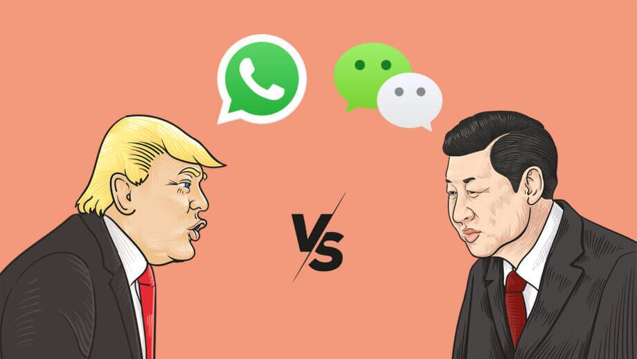 Donald Trump und Xi Jinping stehen sich gegenüber mit den Logos von WhatsApp und WeChat