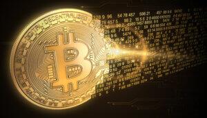goldene bitcoin-münze, die sich in zahlen auflöst