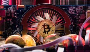 eine bitcoin münze vor einem ventilator