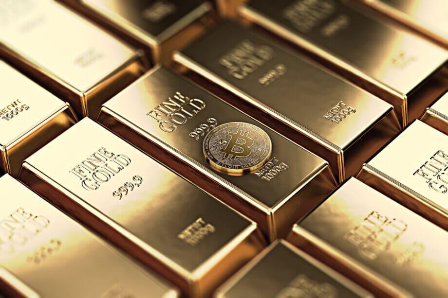 bitcoin-münze-auf-gold