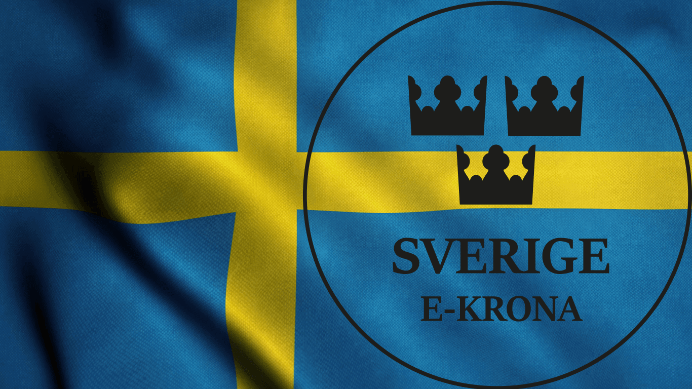 Logo der E-Krona auf schwedischer Flagge
