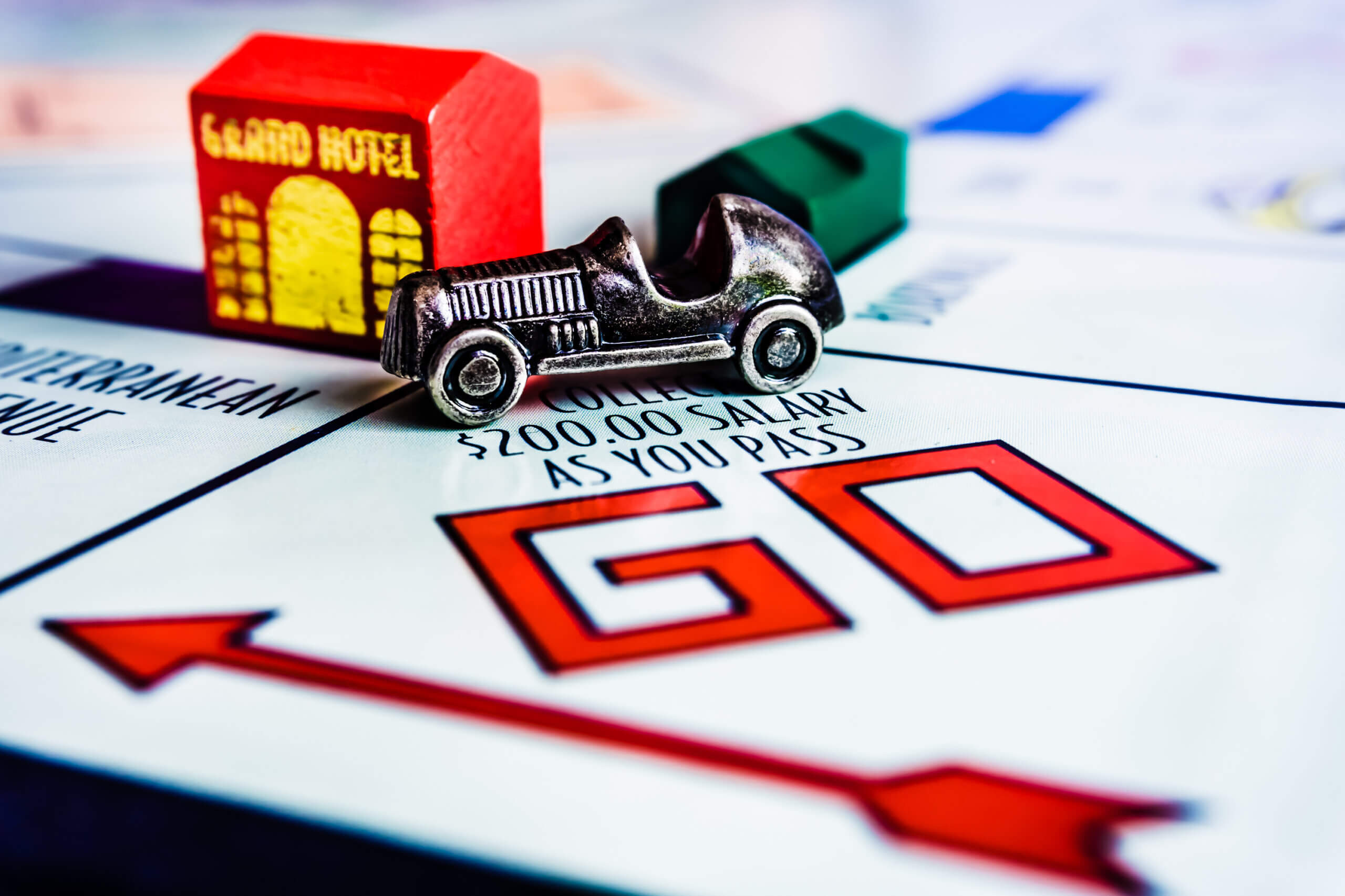 Nahaufnahme eines Monopoly-Spielfelds