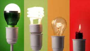 vier verschiedene leuchtmittel: Led-Glühbirne (grüner hintergrund), esl (hellgrüner hintergrund), glübirne (oranger hintergrund), kerze (roter hintergrund)