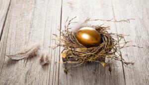 ein goldenes ei in einem nest, daneben liegt eine feder