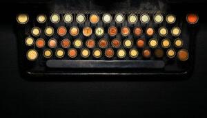 Eine Schreibmaschine, die die Buchstaben
