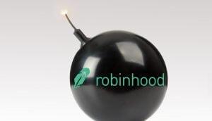 Schwarze Bombe mit RobinHood-Schriftzug draufgedruckt